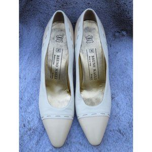 BRUNO MAGLI Vintage Tan and White Pumps 8.5AA